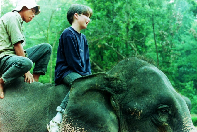 There's nothing like being atop an elephant to create permagrin.