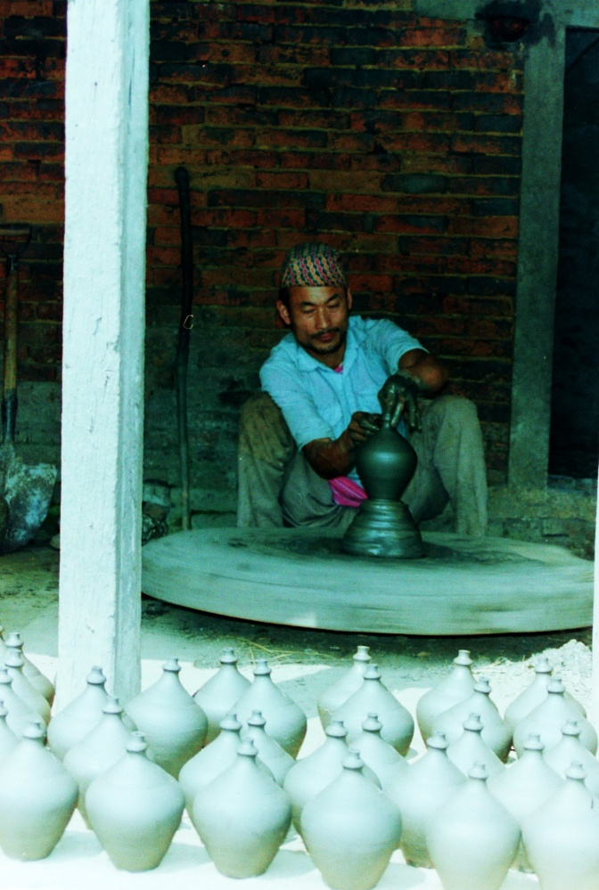 In Bakhtapur's pottery market.
