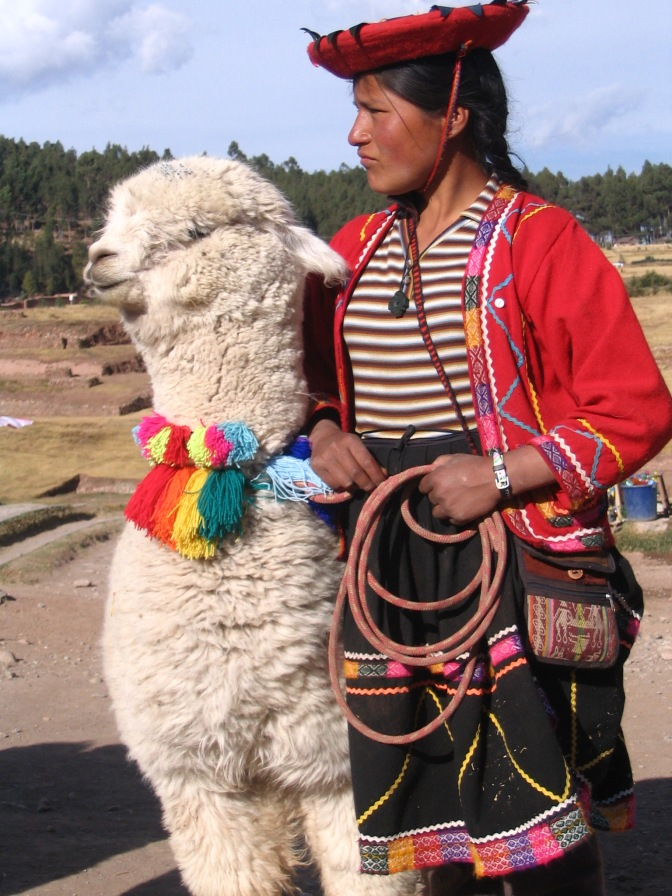 I've posted her before, but I love her. This is such a strong image and she is so relaxed, leaning on her alpaca.