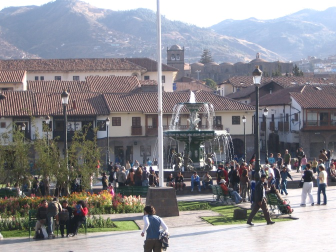 The centre of city life, the Plaza de Armas glitters in this shot.