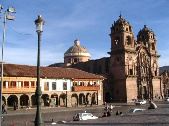 A rare moment with no traffic around the Plaza de Armas.