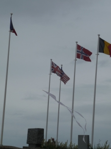 The kite darts about among the flagpoles.