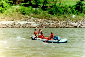 While I was in Nepal, I also went rafting - another achievement. The rapids we had just come through were frightening in their intensity - and so exciting to run. This raft came down about 15 minutes after us. You can see the feeling of accomplishment in his joyous greeting.