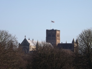 St Albans Cathedral, grown from a Norman Abby, built virtually on top of an 8th century Saxon Basilica dedicated to Alban.