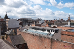 A view of Leicester's rooftops from my office building - from the conical roof of the Victoria Coffee House (late 1800s - run by the Temperance Movement) to the clock tower of the Town Hall. In the centre is the incredible French Pavilion rooftop of what used to be the Leicestershire Bank, constructed in 1874.