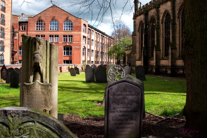 Built in the late 1820s of sandstone, the church and its graveyard are now surrounded by newer manufacturing sites.