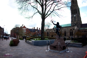 The statue of Richard III used to sit in Castle Gardens, but when Richard was found and the Visitors Centre was built just behind where I was standing, the statue was refurbished and moved here, where visitors leave white roses at its base. He looks down Peacock Lane past the former location of Grey Friars, his next to last resting place.