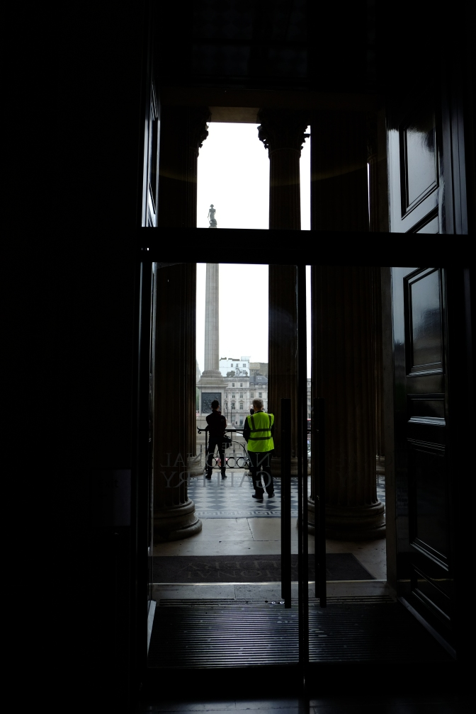 Looking through the doors of the National Gallery, an idea comes to me.