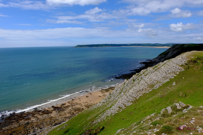 From the Cliffs near Pennard, looking toward Three Cliff Bay. The water looks tropical.