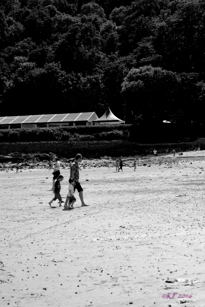 We were at Oxwich Beach after lunch and I decided to work with black and white I love the feel of this shot of a family heading home after a day of fun.