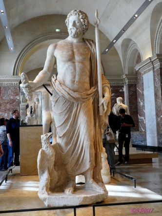 Jupiter accompagné de l'aigle - 2nd century Roman in marble. He has a gentility that most statues of Jupiter do not. I love that his eagle gazes at him, almost adoringly.