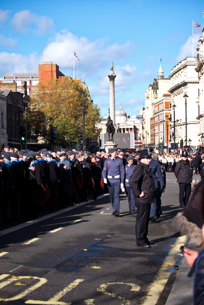 I managed to get to the barriers and get this shot. Veterans standing in Whitehall looking toward Trafalgar Square.